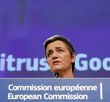 commission europe Margrethe Vestager 1.49 millards d euros amende Google